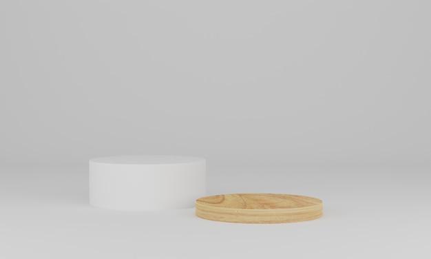 Renderização 3d. pódio de madeira em fundo branco. cena mínima abstrata com geométrica. pedestal ou plataforma para display, apresentação de produto, mock up, show de produto cosmético Foto Premium