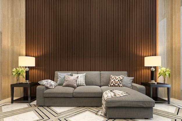 Renderização 3d simulada decoração de madeira na sala de estar com sofá estilo clássico Foto Premium