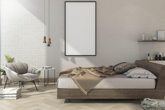Renderização 3d vintage mínimo mock up quarto em estilo escandinavo Foto Premium