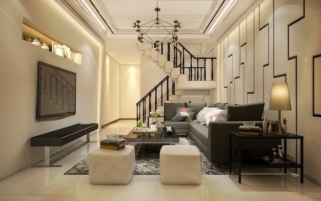 Renderização 3d vintage tom quente madeira sala perto da escada Foto Premium