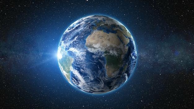 Renderização 3d: vista do nascer do sol do espaço no planeta terra Foto Premium