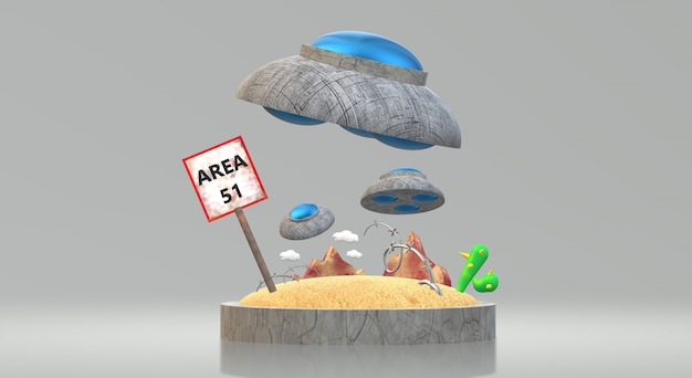 Renderização de área ufo 3d Foto Premium