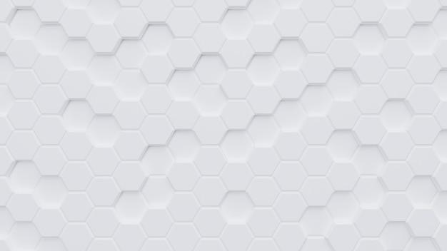 Renderização de background.3d de padrão de hexágono branco Foto Premium