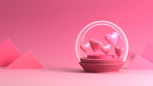Renderização de coração em bola de neve no dia dos namorados Foto Premium