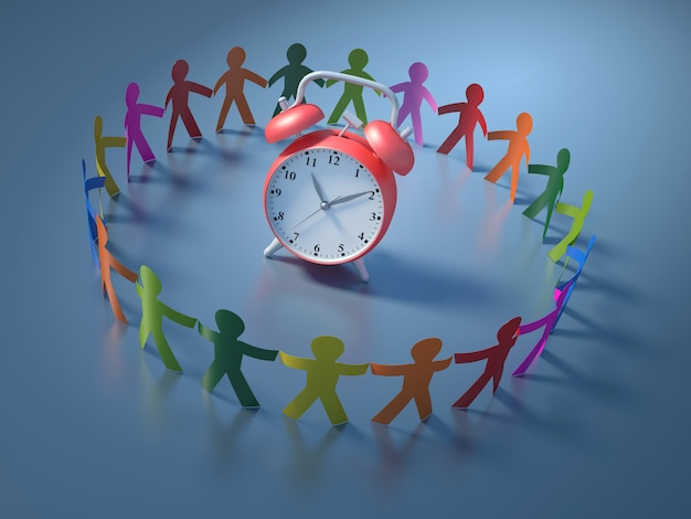 Renderização de ilustração de pessoas do trabalho em equipe com relógio Foto Premium