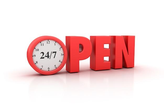 Renderização de ilustração do open word com relógio 24/7 Foto Premium