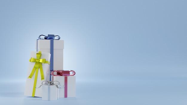 Renderização de quatro giftbox branco com fita colorida Foto Premium