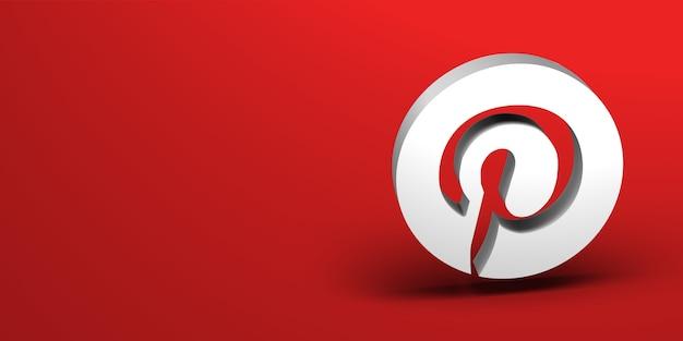 Renderização do logotipo 3d da mídia social Foto Premium