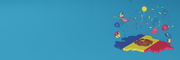 Renderização do mapa 3d da bandeira de andora para comemorar o dia nacional de compras e o dia da independência Foto Premium
