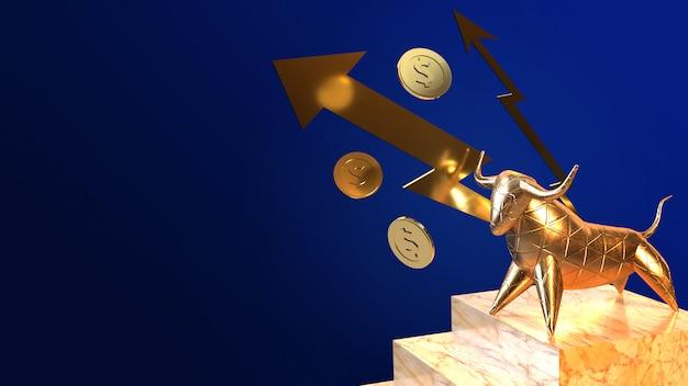 Renderização em 3d de ouro de touro para conteúdo de negócios. Foto Premium