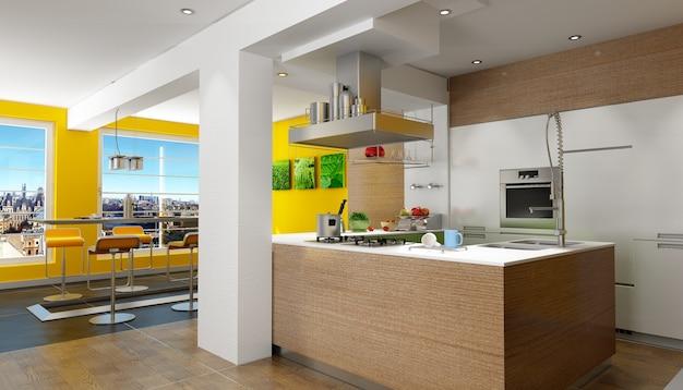 Renderização em 3d de uma cozinha projetada com vista magnífica (as fotos na parede são minhas, então não há problemas de direitos autorais) Foto Premium