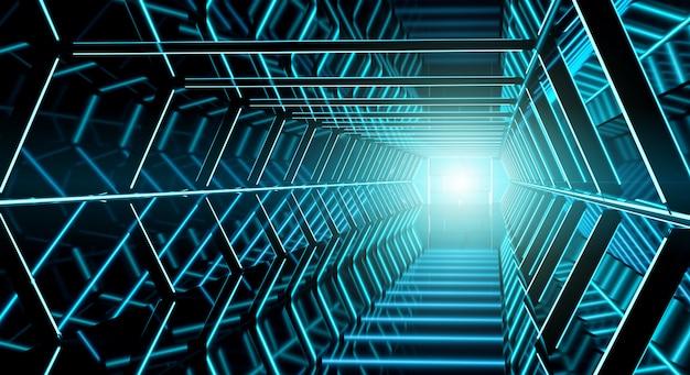 Renderização em 3d do corredor futurista escuro nave espacial Foto Premium