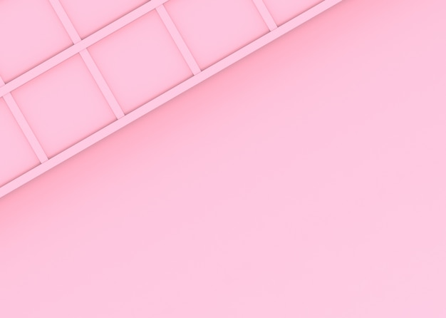 Renderização em 3d. doce suave design quadrado rosa fundo da parede. Foto Premium