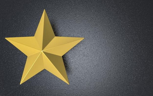 Renderização em 3d. estrela dourada de cinco pontas no fundo da parede de cimento escuro. Foto Premium