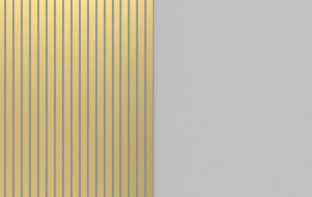 Renderização em 3d. luxo moderno padrão de barra vertical de ouro sobre fundo cinza. Foto Premium
