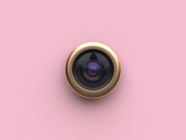 Renderização em 3d ouro círculo lente câmera rosa plano de fundo Foto Premium