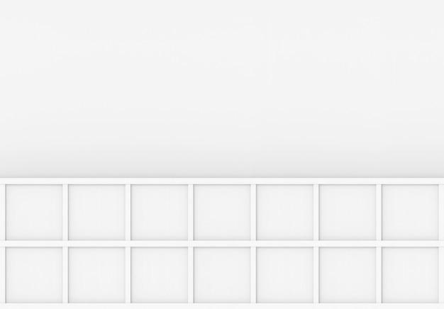 Renderização em 3d. placa de caixa quadrada de madeira branca mínima moderna no fundo da parede cinza em branco. Foto Premium
