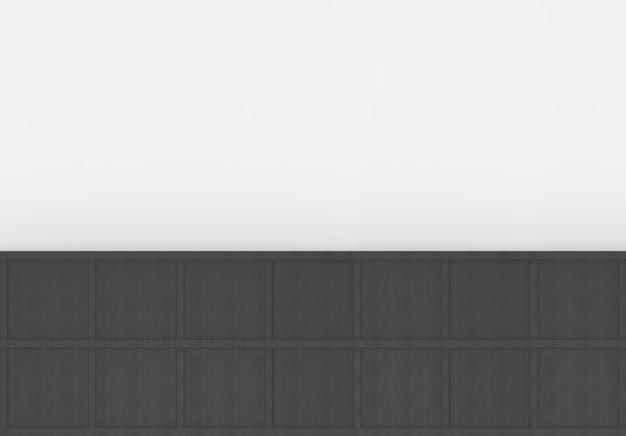 Renderização em 3d. placa moderna caixa quadrada de madeira preta mínima no fundo da parede branca em branco. Foto Premium