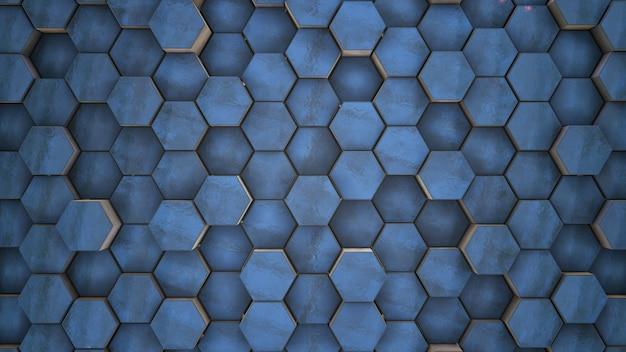 Renderização em 3d. real abstrato azul gelo limpo hexágonos geométricos técnicos fundo escuro movimento aleatório, animação 3d Foto Premium