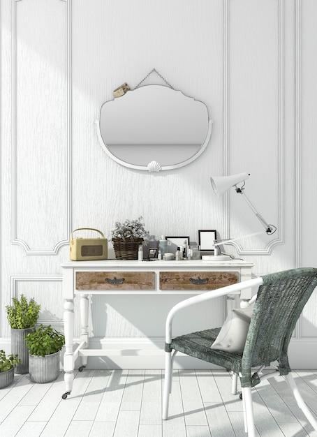 Renderização quarto branco clássico com mesa de maquiagem Foto Premium