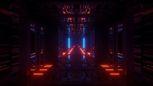 Renderizando um fundo futurista abstrato com luzes brilhantes de néon azul e laranja Foto gratuita