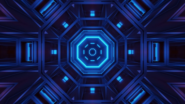 Renderizando um fundo futurista abstrato com luzes brilhantes de néon azul Foto gratuita