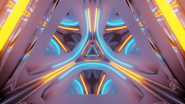 Renderizando um fundo futurista abstrato com luzes de néon brilhantes Foto gratuita