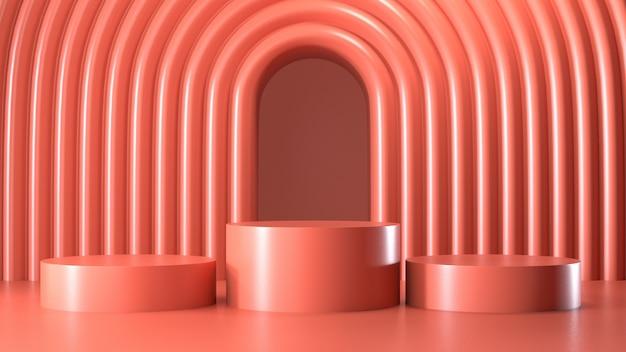 Renderizar imagem de exibição de pódio geométrica abstrata cor-de-rosa ou vitrine Foto Premium