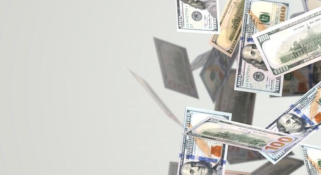 Rendição 3d caindo o índice de negócio de 100 dólares. Foto Premium