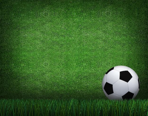 Rendição 3d da bola de futebol com linha no campo de futebol. Foto Premium