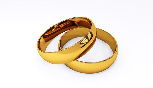 Rendição 3d das alianças de casamento no close up branco do fundo. Foto Premium
