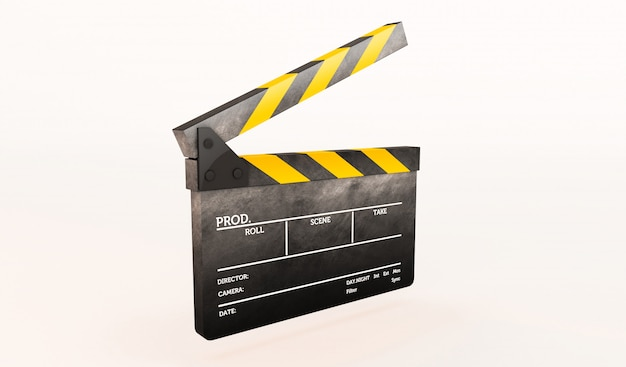 Rendição 3d de clapperboard no fundo branco. Foto Premium