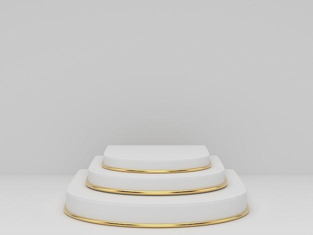 Rendição 3d do pódio do pedestal do ouro branco claramente no fundo, espaço mínimo abstrato do pódio mínimo para o produto cosmético da beleza, Foto Premium