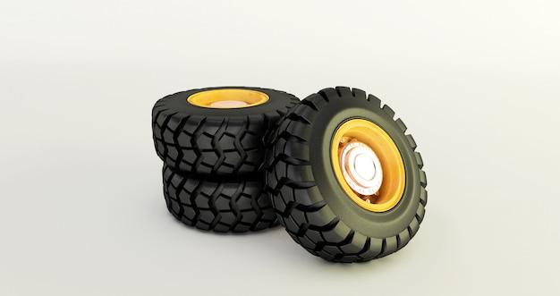 Rendição 3d dos pneus de carro isolados nas rodas de carro brancas ajustadas. Foto Premium