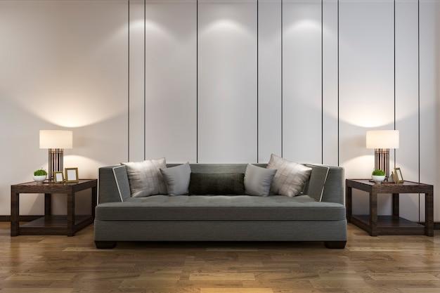 Rendição 3d simulada decoração de madeira na sala de estar com sofá estilo chinês Foto Premium