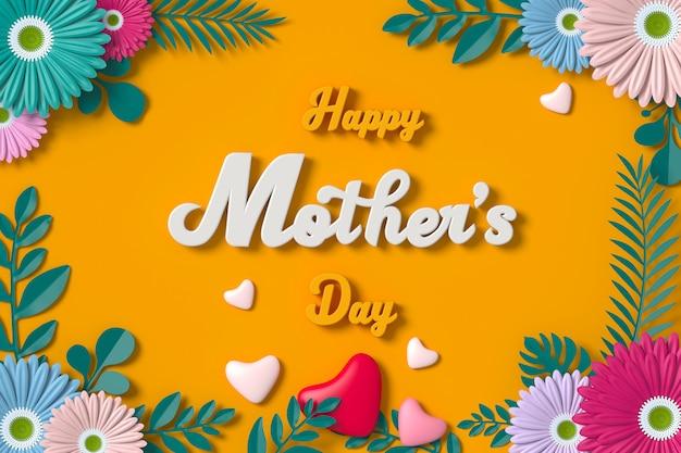 Rendição da flor 3d do cartão do dia de mãe com trajeto de grampeamento. Foto Premium