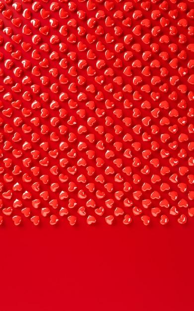 Rendição da ilustração do teste padrão 3d do fundo dos corações do dia de valentim. cor vermelha em negrito plana leigos. amo cartão, cartaz, modelo de banner Foto Premium