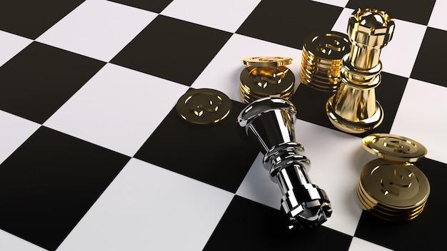 Rendição da moeda 3d da xadrez e de ouro para o índice de negócio. Foto Premium