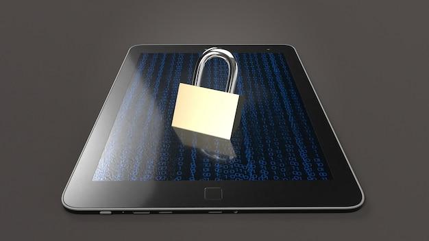 Rendição da tabela e da chave mestra 3d para a tecnologia de segurança. Foto Premium
