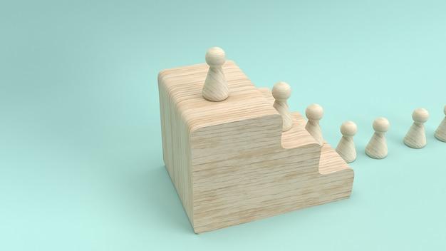 Rendição de madeira do brinquedo 3d para o conceito do negócio. Foto Premium