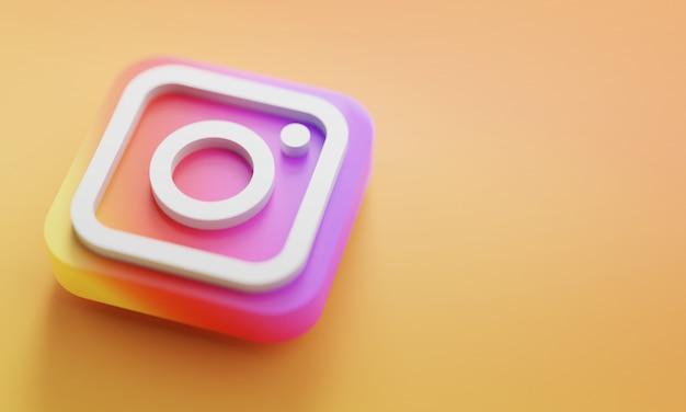 Rendição do logotipo 3d de instagram perto acima. modelo de promoção de conta. Foto Premium