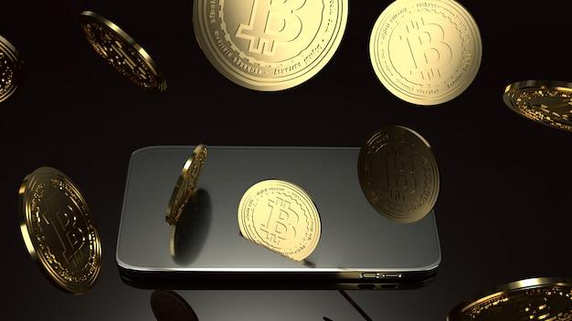 Rendição esperta do telefone e do bitcoin 3d para o conceito do negócio. Foto Premium
