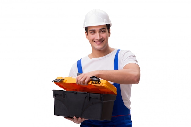 Reparador com caixa de ferramentas isolada no branco Foto Premium