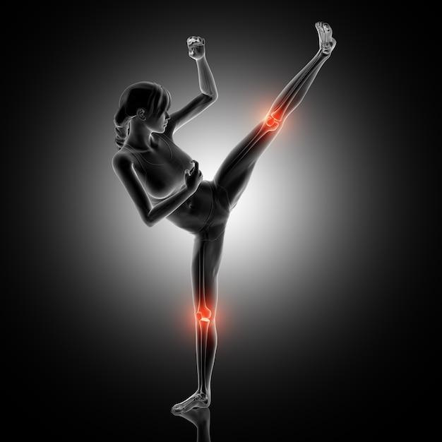Representação 3d de uma figura feminina em pose de boxe com juntas de joelho destacadas Foto gratuita