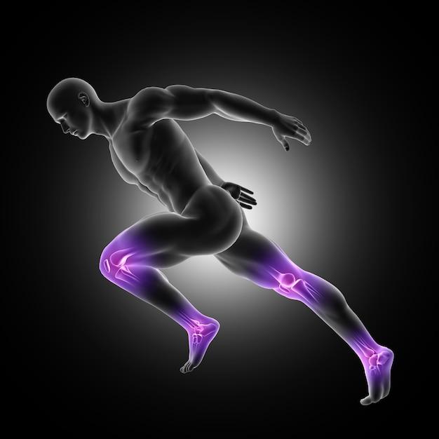 Representação 3d de uma figura masculina em pose de corrida com juntas nas pernas destacadas Foto gratuita
