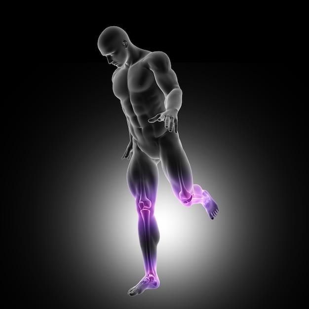 Representação 3d de uma figura masculina que corre com juntas nas pernas destacadas Foto gratuita