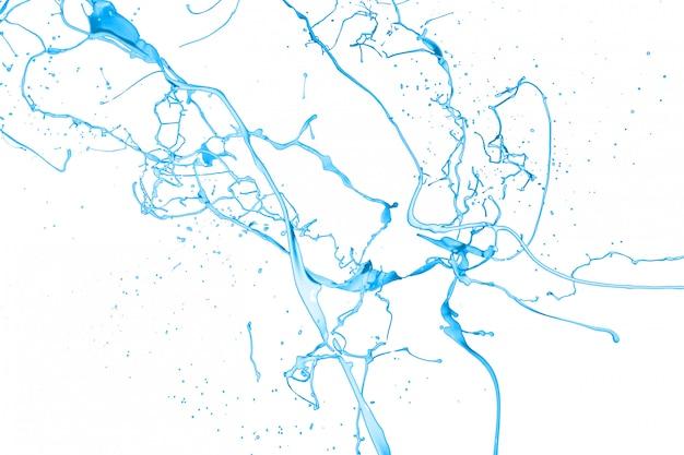 Respingo de tinta azul isolado no fundo branco Foto Premium