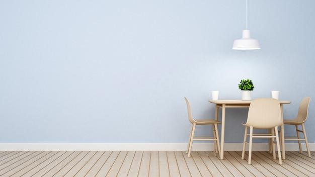 Restaurante ou café na parede azul design-renderização em 3d Foto Premium