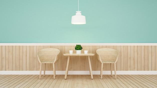 Restaurante ou café no design de parede verde Foto Premium
