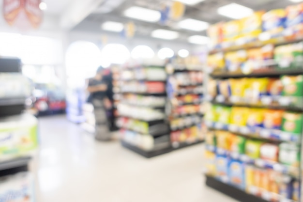 Resumo blur prateleira em minimart e supermercado Foto Premium